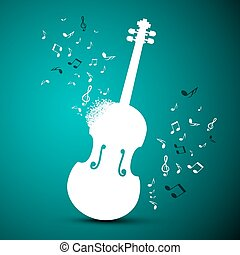 Abstract Music Vector Background. Violin and Notes.