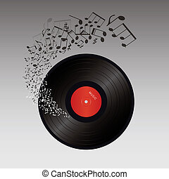 abstract music vector illustration- vinyl and music notes