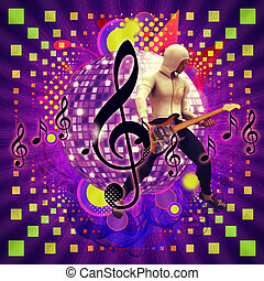 Abstract musical background with guitar player