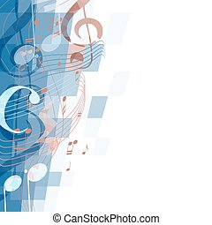 abstract musical background with key and notes, musical signs