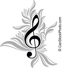 Abstract musical background with treble clef.