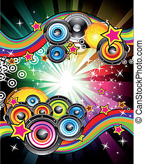 Abstract Musical Event Background - Colorful Flyer for Disco...