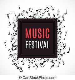 Abstract musical frame and border with black notes on white background.