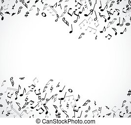 Abstract musical frame and border with black notes on white...