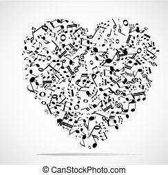 Abstract musical heart background