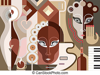 Abstract Musical Illustration - Abstract music background -...