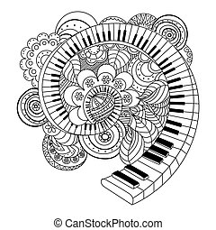 Abstract musical instrument coloring book hand drawn vector...