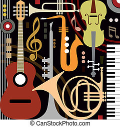 Abstract colored music instruments, full scalable vector graphic, change the colors as you like