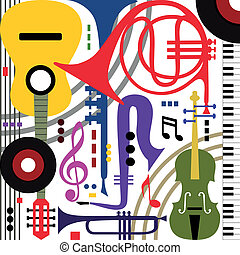 Abstract musical instruments - Abstract colored music...