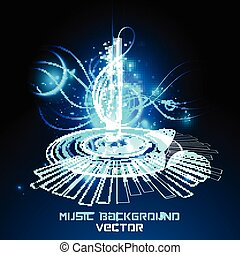 Abstract  musical note on blue background. vector
