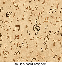 Abstract musical pattern on grunge paper for your design