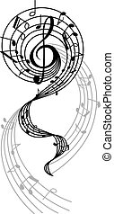 Abstract musical swirl with notes and sounds