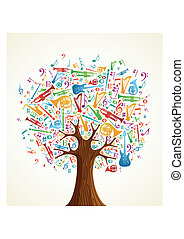 Abstract musical tree made with instruments shapes illustration. Vector file layered for easy manipulation and custom coloring.