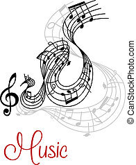 Abstract musical waves composition design