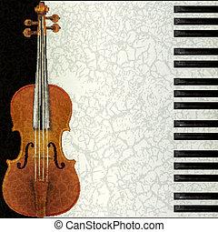 abstract, muziek, achtergrond, met, viool, en, piano