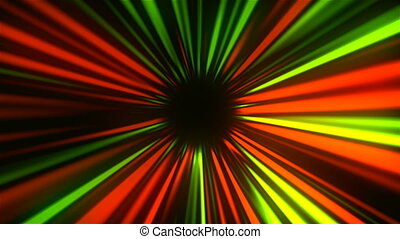 Abstract mysterious rays tunnel, moving in space and time,...