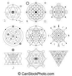 Abstract mystical geometry symbol set. Linear alchemy,...