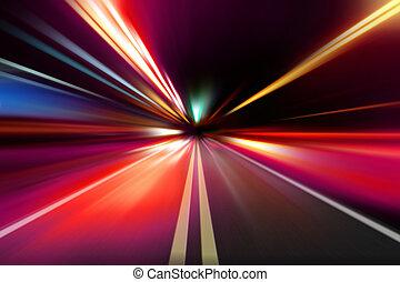 abstract, nacht, versnelling, snelheid, motie
