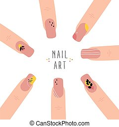Poster with template fingernails and patterns painted on them. Abstract nail art. Trendy manicure art. Nude nail polish. Vector illustration isolated on white background.