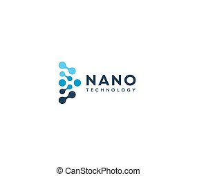 Abstract nano icon, blue circles in semicircle. Dotted logo template, flat abstract emblem. Concept logotype design for nanotech innovation and development. Science vector logo.
