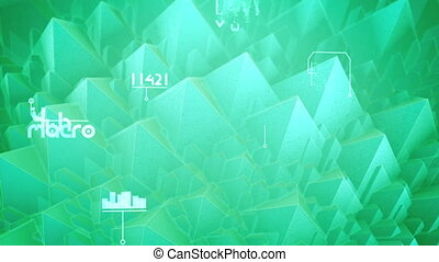 """Holographic 3d rendering of nano pyramids with see-through slopes, spinning spirals, changing words, shimmering digits in the celeste background. It looks futuristic in seamless loop. """