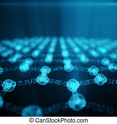 Abstract nanotechnology hexagonal geometric form close-up, concept graphene atomic structure, concept graphene molecular structure. Shining Hexagonal form consisting dots and lines. 3D rendering