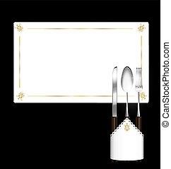 abstract napkin and khife, spoon, fork