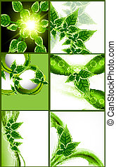 abstract Natural eco green lives shiny collection design Vector