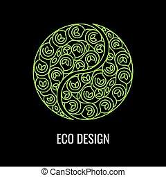 Abstract natural Linear logo. Green symbol Yin Yang on black bac