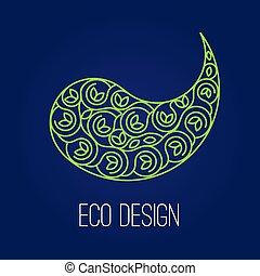 Abstract natural Linear logo. Green symbol Yin Yang on dark blue