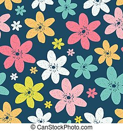 Abstract Natural Seamless Pattern Background with Colorful Flowe