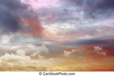 Dramatic blue sky with orange colorful