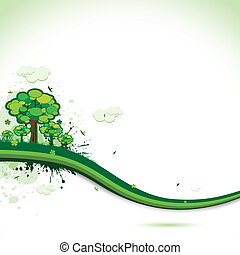 illustration of abstract nature background with trees