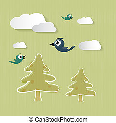 Abstract Nature Background with Clouds, Trees, Birds