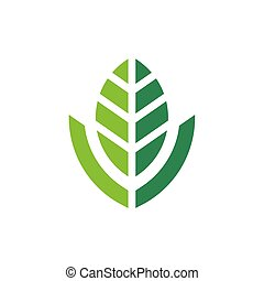 Abstract nature leaf logo design, green leaves icon, vector illustration