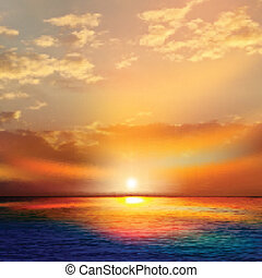 abstract, natuur, achtergrond, met, zee, ondergaande zon ,...