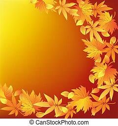 abstract, natuur, gouden achtergrond, met, blad, herfst