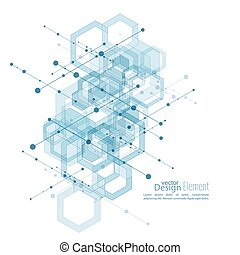 Abstract neat Background with transparent cubes, hexagons...