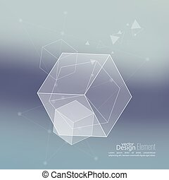 Abstract neat Blurred Background with transparent cubes, ...