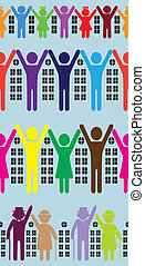 Abstract neighborhood background. Vector people, house, building. Realty concept. Real estate. Urban wallpaper