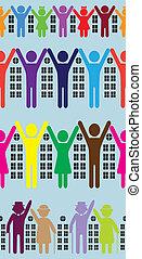 Abstract neighborhood background. Vector people, house, ...