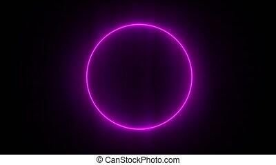 Abstract neon background. Shine pink violet ring. Halo...
