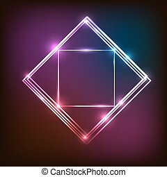 Abstract neon background with squares