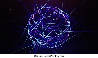 Abstract neon ball made from lines
