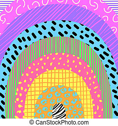 Abstract Neon Candy Rainbow Pattern Doodle