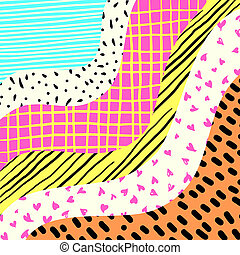 Abstract Neon Candy Waves Pattern Doodle