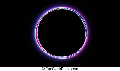 Abstract neon circle , fluorescent light. Loop animation. Neon box, new technologies.