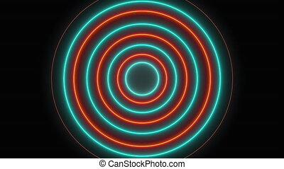 Abstract neon circles form an endless tunnel, computer generated. 3d rendering of bright background