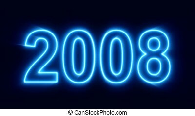 abstract neon countdown from the year 2000 to the new year 2020