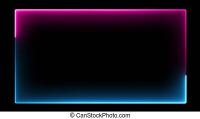 Abstract neon frame, fluorescent light. Loop animation. Neon box, new technologies.